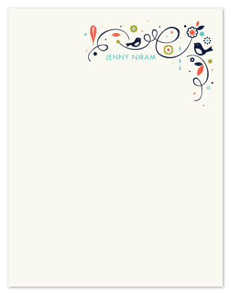 personal stationery - Swirly Bird Note by Heather Francisco