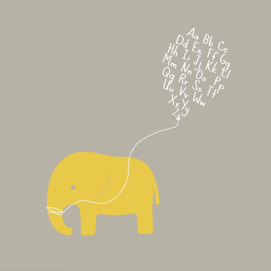 art prints -  Alphabet Elephant by Jayne Salentiny