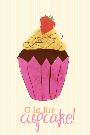 art prints - C is for Cupcake! by Sarah Donovan
