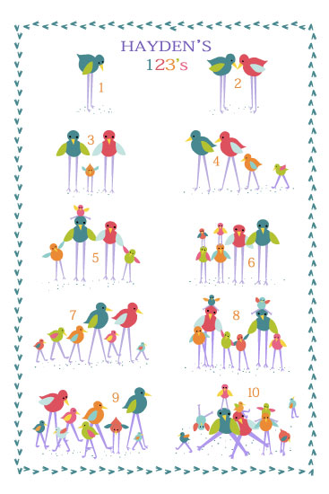 art prints - Birdy Family 123 by Lynn Clark