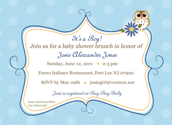 baby shower invitations - Its a Hoot of a Party by CML Designs