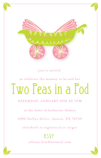 baby shower invitations - Two Peas in a Pod by Sarah Donovan