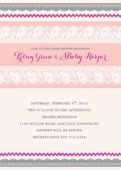 baby shower invitations - Vintage Lace & Ribbon by Heather Myers
