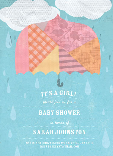 baby shower invitations - Rainy Day  by Yellow Button Studio