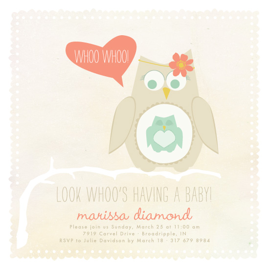 baby shower invitations - whoo whoo baby owl by Kathleen Niederhauser