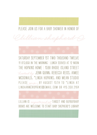 baby shower invitations - Tape and Type by roxy