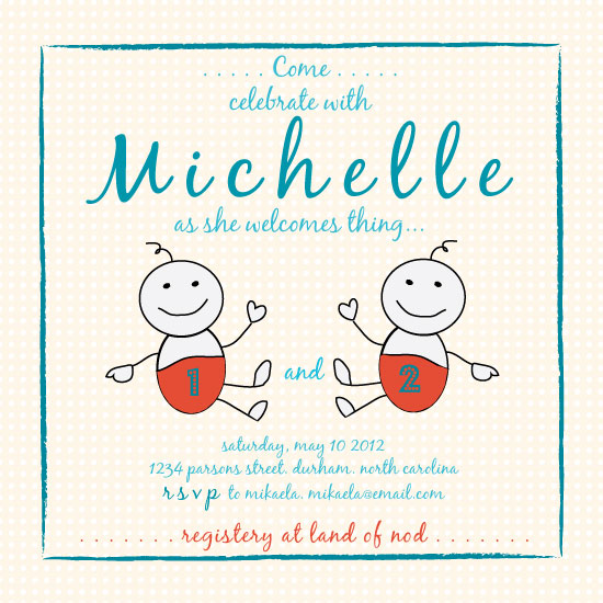 baby shower invitations - Thing 1 + Thing 2 by Amy Weir