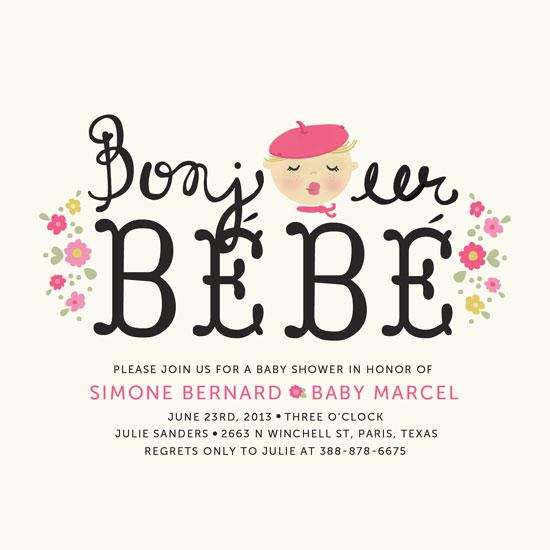 baby shower invitations - Bonjour Bebe by Pistols