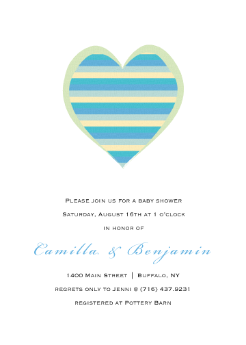 baby shower invitations - heart of stripes by Michelle Enderton