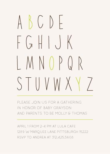 baby shower invitations - Letter Boy by Kristen Dake