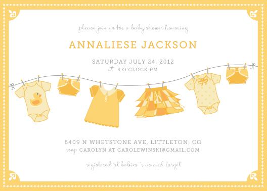 baby shower invitations - Laundry Line by Wendy Van Ryn