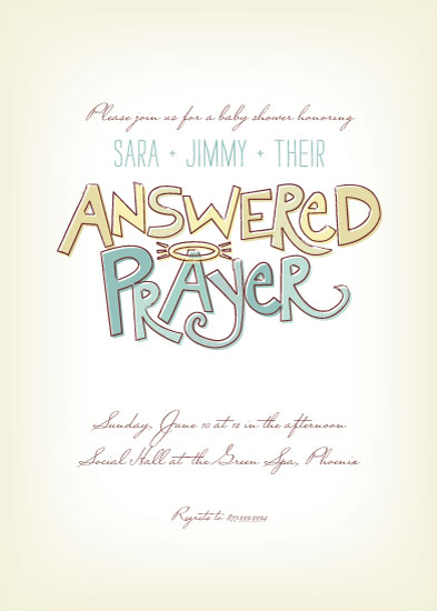 baby shower invitations answered prayer by loree mayer - Adoption Party Invitations