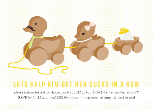 baby shower invitations - Ducks in a Row by Shiny Penny Studio