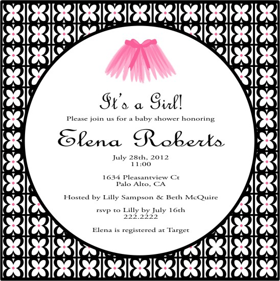 baby shower invitations - Tutu for a new baby girl by Lynn Clark