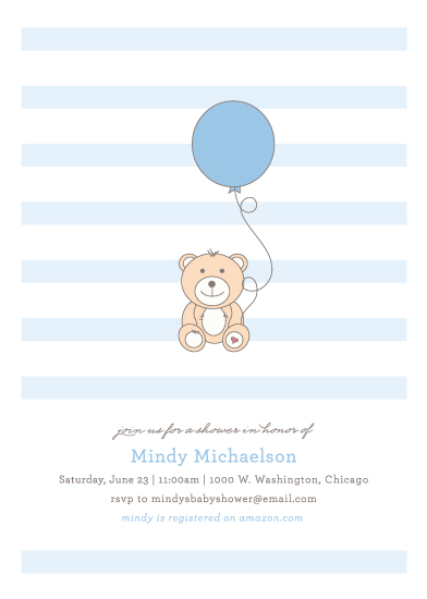 baby shower invitations - Bear and Balloon by Kimberly FitzSimons
