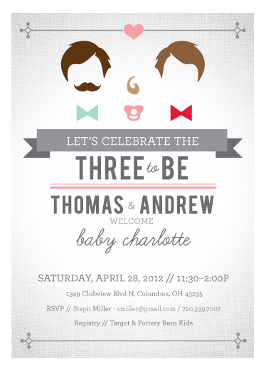 baby shower invitations - Swanky Three to Be by våre hender