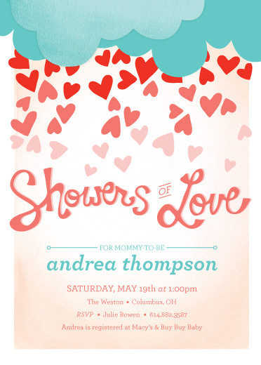 baby shower invitations - Love Shower by våre hender