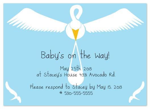 baby shower invitations - Flying Stork by Denise Design