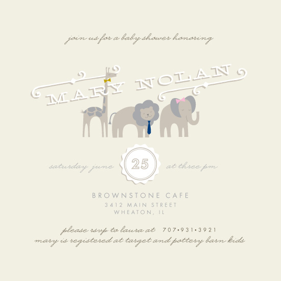 baby shower invitations - Official Animals by Alethea and Ruth