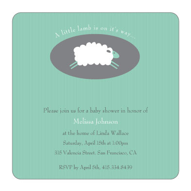 baby shower invitations - Little Lamb Baby Shower Invitations by Jean Barbari