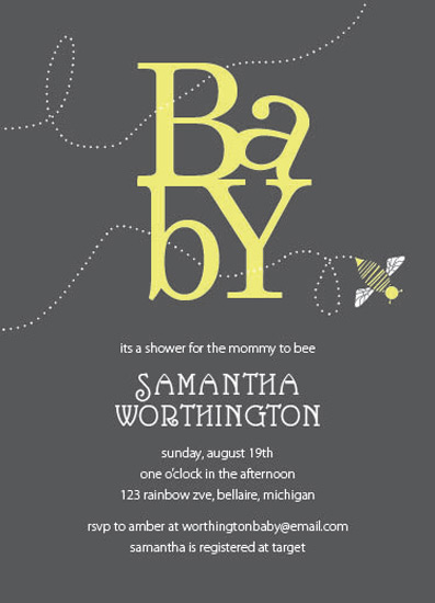 baby shower invitations - Buzzing Bee by Emily Ford