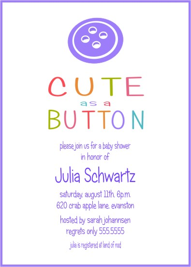 baby shower invitations - Cute as a Button by Lynn Clark