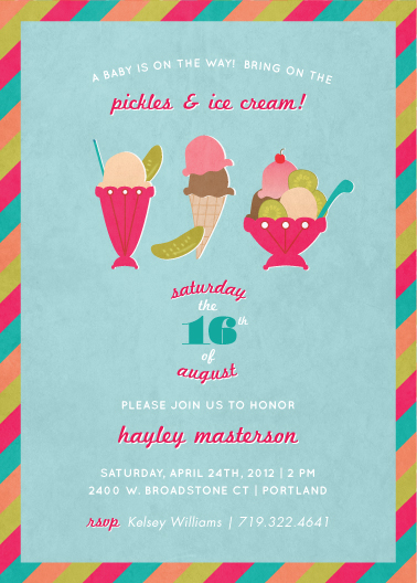 baby shower invitations - Pickles & Ice Cream by Wendy Van Ryn
