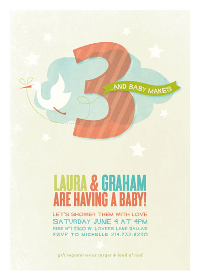 baby shower invitations - three is the magic number by Robin Ott
