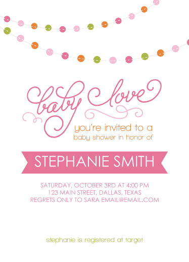 baby shower invitations - Baby Love Bunting by Angie Sandy