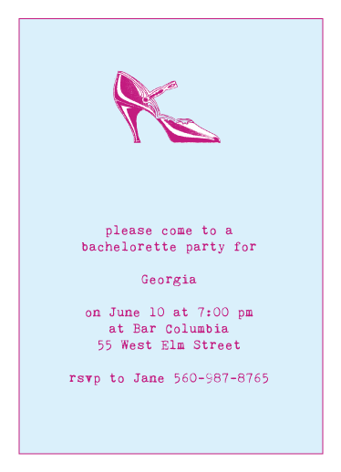 party invitations - Bachelorette Party in heels by Karen Robert