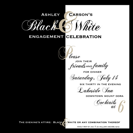 party invitations Black and White Dinner at Mintedcom