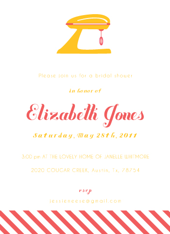 party invitations - Retro kitchen bridal shower by Sarah Donovan
