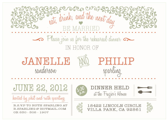 party invitations - Whimsical Garden Rehearsal Dinner Invitation by Amanda Franz