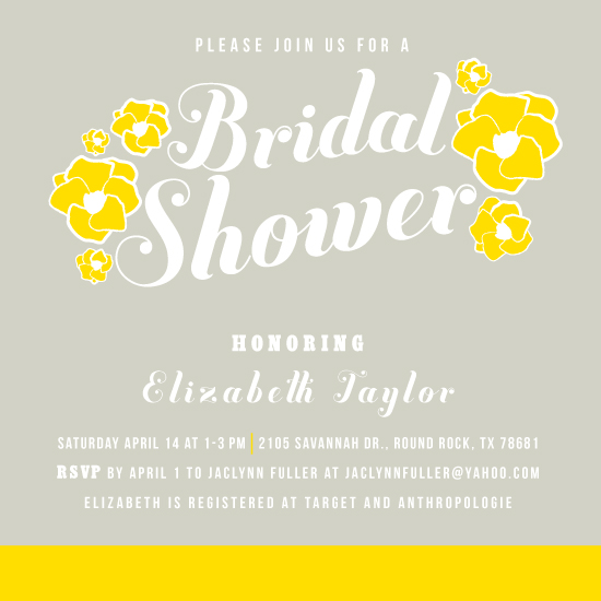 party invitations - Blooms of yellow bridal shower by Sarah Donovan