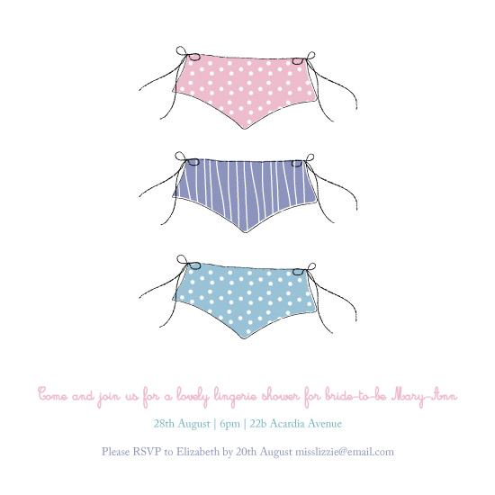 party invitations - Knickers! by Rebecca Jackson