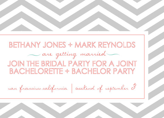 Party Invitations Joint Bachelorette Bachelor Coral