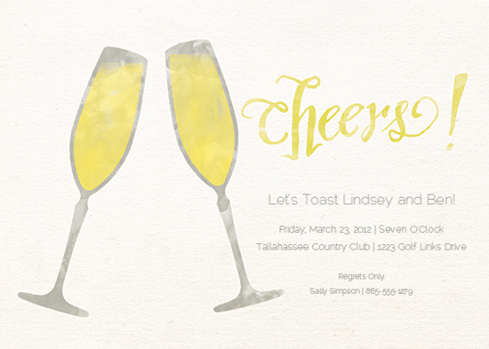party invitations - Cheers Champagne Glasses! at Minted.com