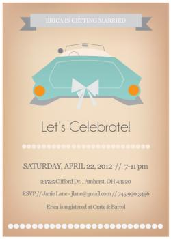 Vintage Ride Bridal Shower Invitation