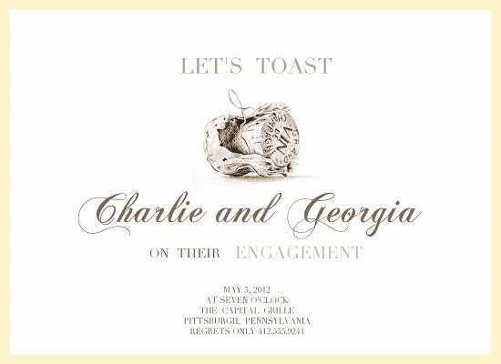 party invitations - Champagne Engagement by Anne Rackley