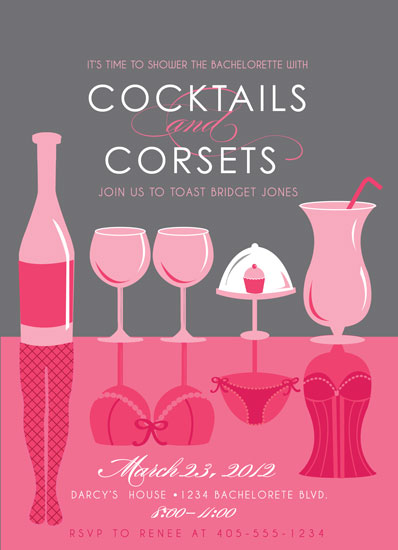party invitations - Cocktails and Corsets by Rachel Luetkemeyer
