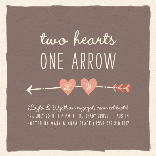 party invitations - Two Hearts One Arrow by feb10 design