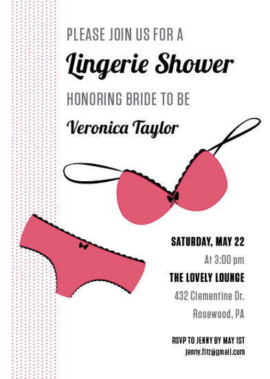 party invitations - Chic Lingerie Shower by Designed by STC