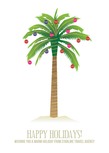 business holiday cards - PALM TREE HOLIDAY by Sublime Paperie