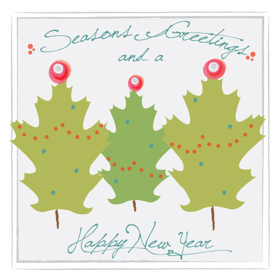 business holiday cards - Holiday Leaves by Amy Weir