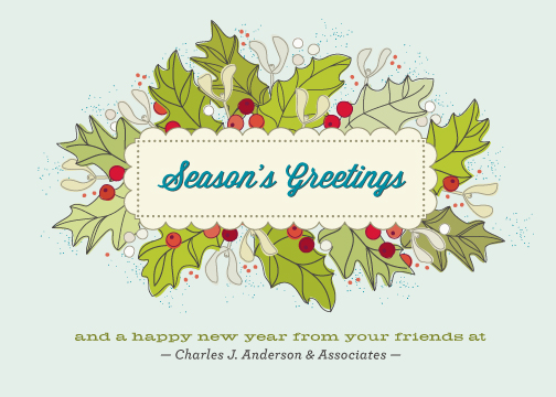 business holiday cards - A Bit of Vintage Holly by Kimberly Morgan
