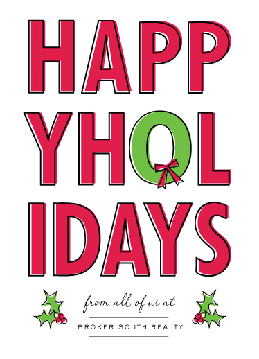 corporate holiday cards - big and bold happy holidays by Sara Hicks Malone