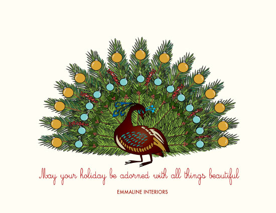 corporate holiday cards - Adorned Peacock by Wendy McClure
