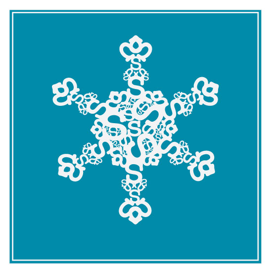 corporate holiday cards - Typographical snowflake by Danielle Foltz