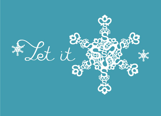 corporate holiday cards - Let It Snow Typography by Danielle Foltz