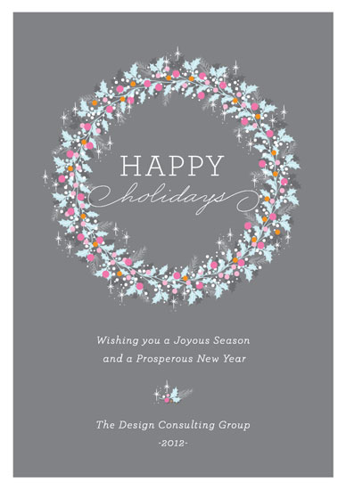 corporate holiday cards - Modern Holly Wreath  by Coco and Ellie Design